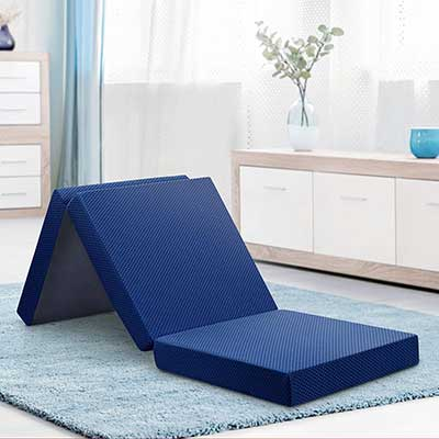 "Olee Sleep Tri-Folding Memory Foam Topper 4"" H Blue"