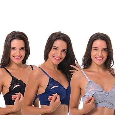 Curve Muse Plus Size Nursing Cotton Unlined Wire-free Bra