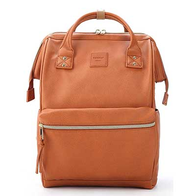Kah & Kee Leather Backpack Diaper Bag with Laptop