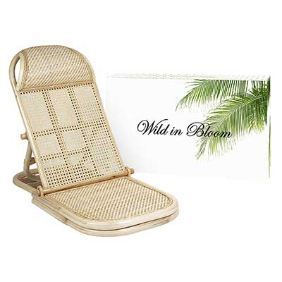 Wild in Bloom Rattan Folding Portable Beach Bamboo Lounge