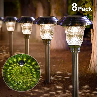 Solar Light Bright Pathway Outdoor Garden Stake Glass Stainless Steel Lights