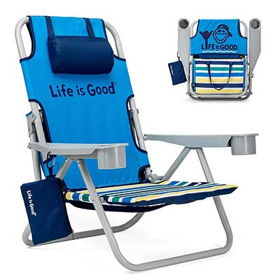 Life is Good Beach Chair with Cooler and Backpack Straps