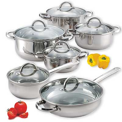 Cook N Home 12 Pcs Stainless Steel Cookware