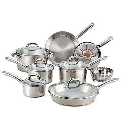 T-fal C836SD 13 Pcs Stainless Steel Copper Bottom Cookware