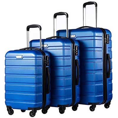 Coolife Luggage 3 Piece Set Spinner Hardshell Cases