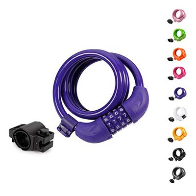 Titanker 4 Feet Coiled Secure Resettable Combination Bike Cable Lock