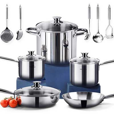 HOMI CHEF 14 Pcs Nickel Free Stainless Steel Cookware Set