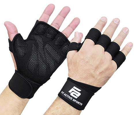 6. Fit Active Sports Weight Lifting Gloves Full Palm Gloves