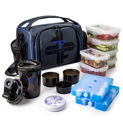 ThinkFit Insulated Meal Prep Lunch Bag with 6 Food Containers