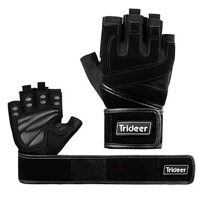 5. Trideer Padded Weight Lifting Gym Gloves