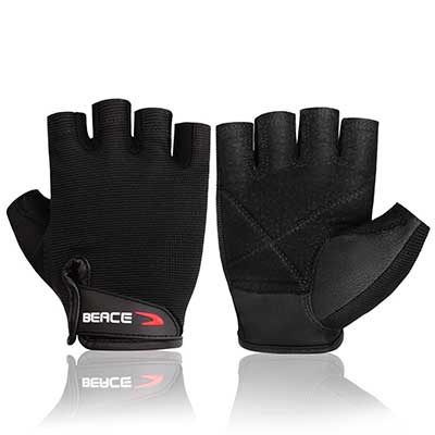 7. BEACE Weight Lifting Anti-Slip Leather Palm Gym Gloves