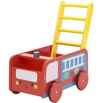 labebe 4 Wheels Walker Wooden Wagon for Baby