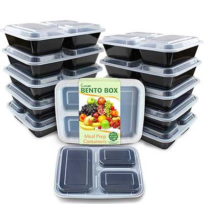 Enther Meal Prep 3 Compartment Containers, 12 Packs