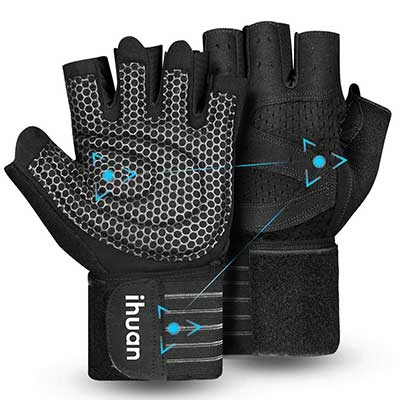 9. ihuan Professional Ventilated Weight Lifting Gym Training Gloves