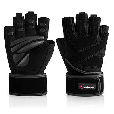 3. Sportneer Padded Weight Lifting 19'' Strap Gloves