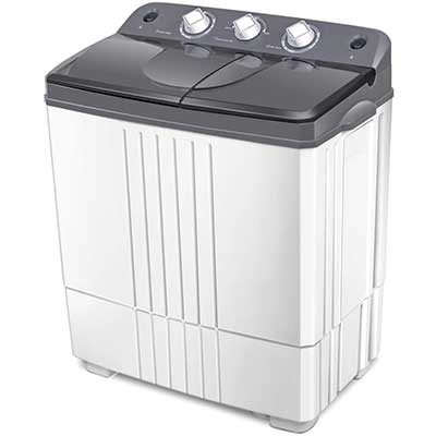 COSTWAY Washing Machine, Twin Tub 20LBS Capacity, Washer & Spinner