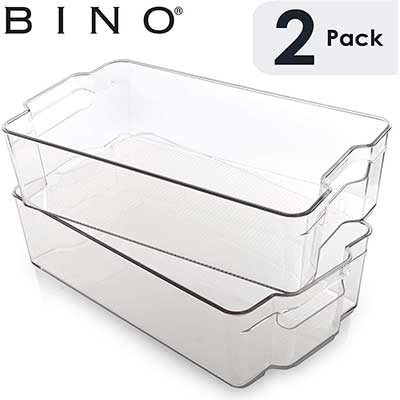 BINO Stackable Plastic Organizer Storage Bins