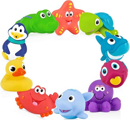 Nuby 10 Count Little Squirts Fun Bath Toys