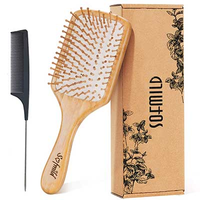 Hair Brush-Natural Wooden Bamboo Brush and Detangler