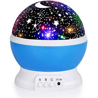 Luckkid 360 Degree Rotation Night Light Moon Star Projector