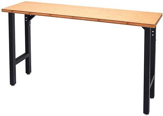 """Goplus 65"""" Bamboo Top Workbench Heavy Duty Steel"""