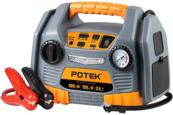 POTEK Jump Starter Source with 150 PSI Tire Booster
