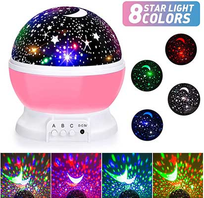 SUNNEST 360 Degree Rotation Moon Star Projector