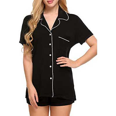 Ekouaer Short Sleeve Sleepwear Women's Button Down Nightwear