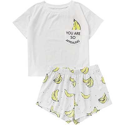 DIDK Women's Cute Cartoon Print Tee &Shorts Pajama Set