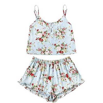 SheIn Summer Floral Print Cami Top & Shorts Pajamas Set