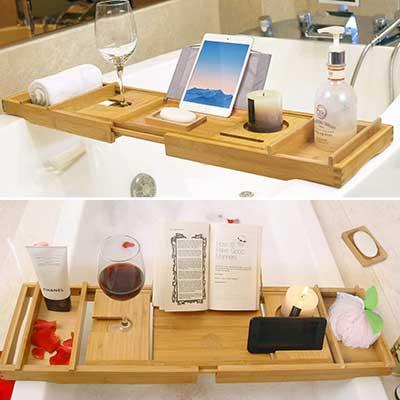 BAMBUROBA Bathtub Caddy Tray Bamboo Bathroom Organizer