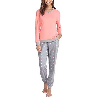 Hawiton Dot Pattern Women's Cotton Long Sleeve Pajamas
