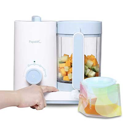 Papablic All-in-1 Baby Food Processor with Reusable Pouches