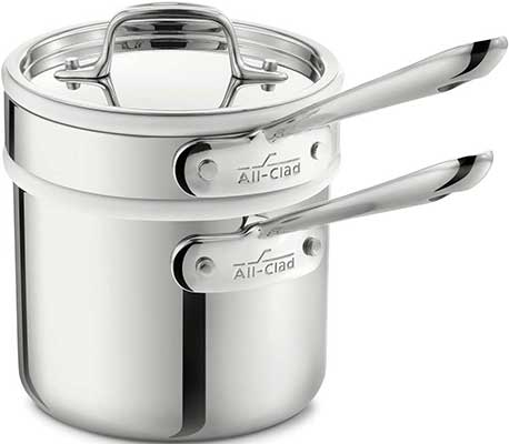 All-Clad 42025 Stainless Steel 3-Ply Bonded Porcelain Double Boiler
