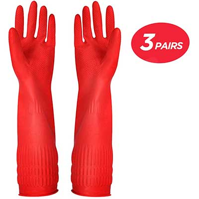 Rubber Cleaning Gloves Kitchen Dishwashing Glove 3-Pairs