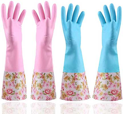 KINGFINGER Rubber Latex Waterproof Dishwashing Gloves