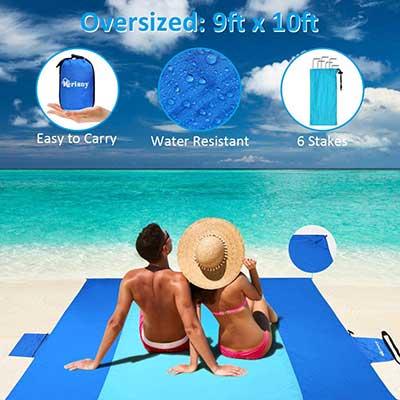 Merisny Sand Free Beach Blanket, 9' x 10'