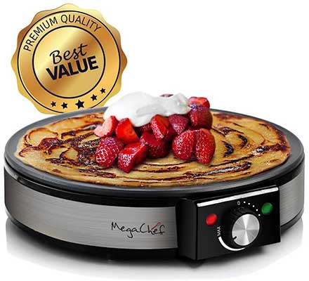 MegaChef Round Stainless Steel Crepe Maker