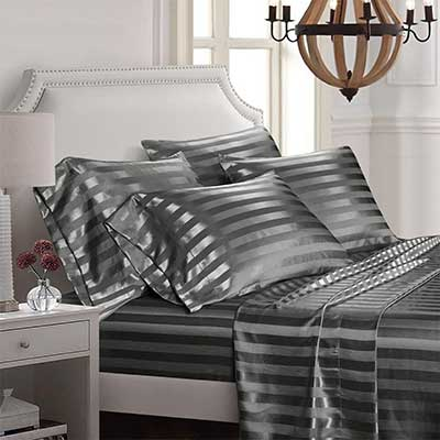 AiMay 6 Piece Bed Sheet Set Deep Pocket Luxury Rich