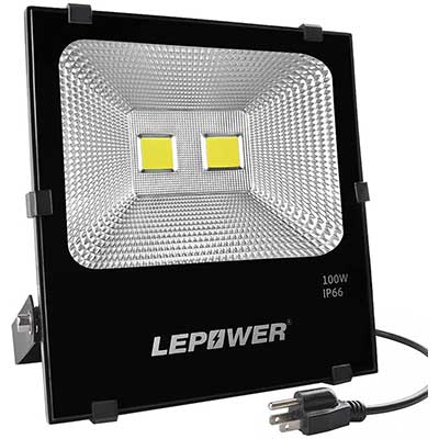 LEPOWER 100W LED IP66 Waterproof Flood Light Outdoor