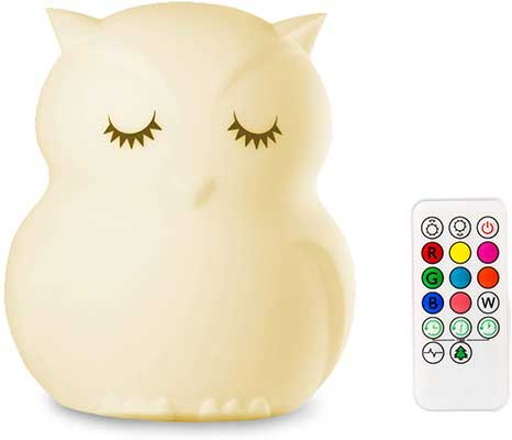 Mothermed Owl Night Light for Kids Baby Silicone