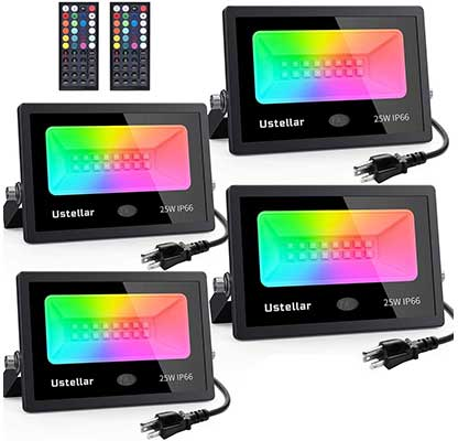 Ustellar 25W RGB LED Color Changing Indoor Outdoor Floodlights