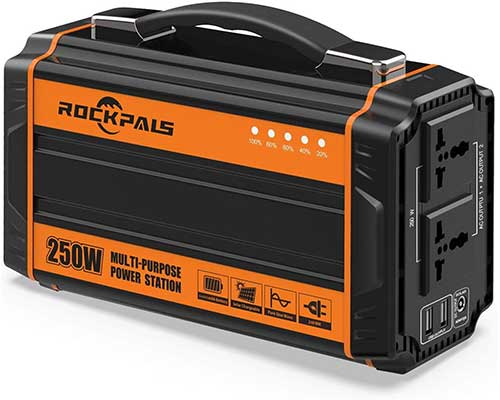 Rockpals 250-Watt Portable Generator Rechargeable Lithium Battery Solar Pack