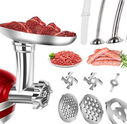 ZISION Metal Meat Food Grinder Attachment for KitchenAid Stand Mixer