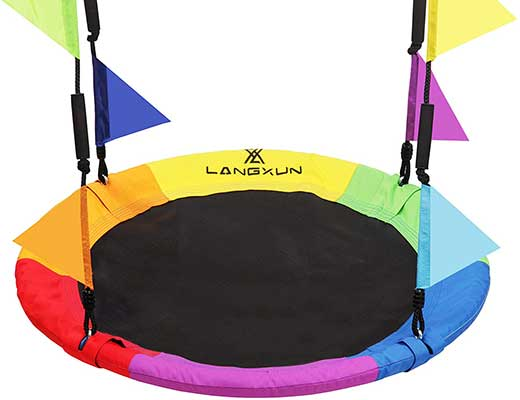 LANGXUN 40-Inch Rainbow Saucer Tree Swing