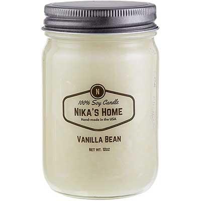 Nika's Home Vanilla Bean Mason Soy Candle