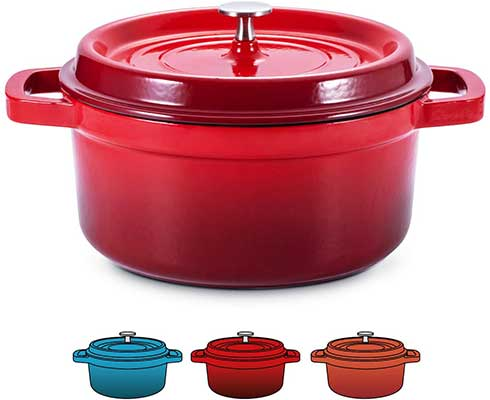 SULIVES Enameled Cast Iron Dutch Oven