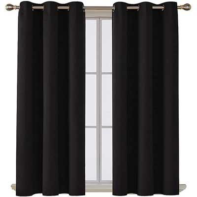Deconovo Room Darkening Black Blackout Curtains