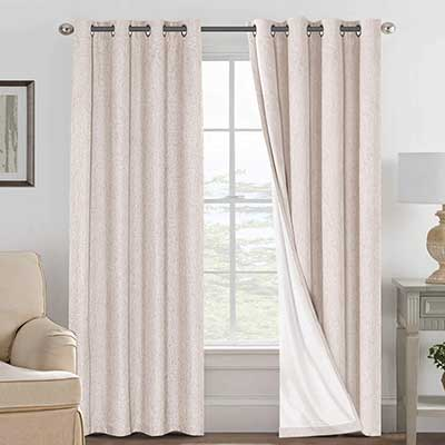 Linen Blackout Curtains 84 Inches Long 100% Blackout Curtain